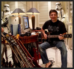 "Fil ""SoloDallas"" playing his Gibson SG Guitar, with AC/DC shirt and Star Wars Stormtroopers"