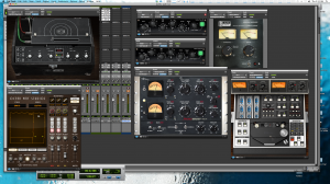 Angus Rhythm Guitar Processing within ProTools. From left to Right, Tape Delay, Helios EQ, Slate Digital Virtual Console, Ocean Way Studio Reverb, Fairchild Compressor and Tape Simulator