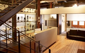 "The Warehouse Studio Reception and ""wall of mikes"", image courtesy of Warehouse Studio"