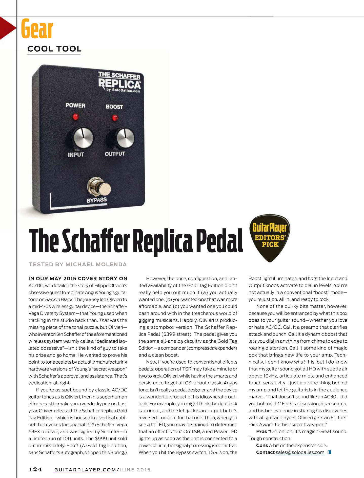 Guitar Player Editors' Pick 2015 Schaffer Replica