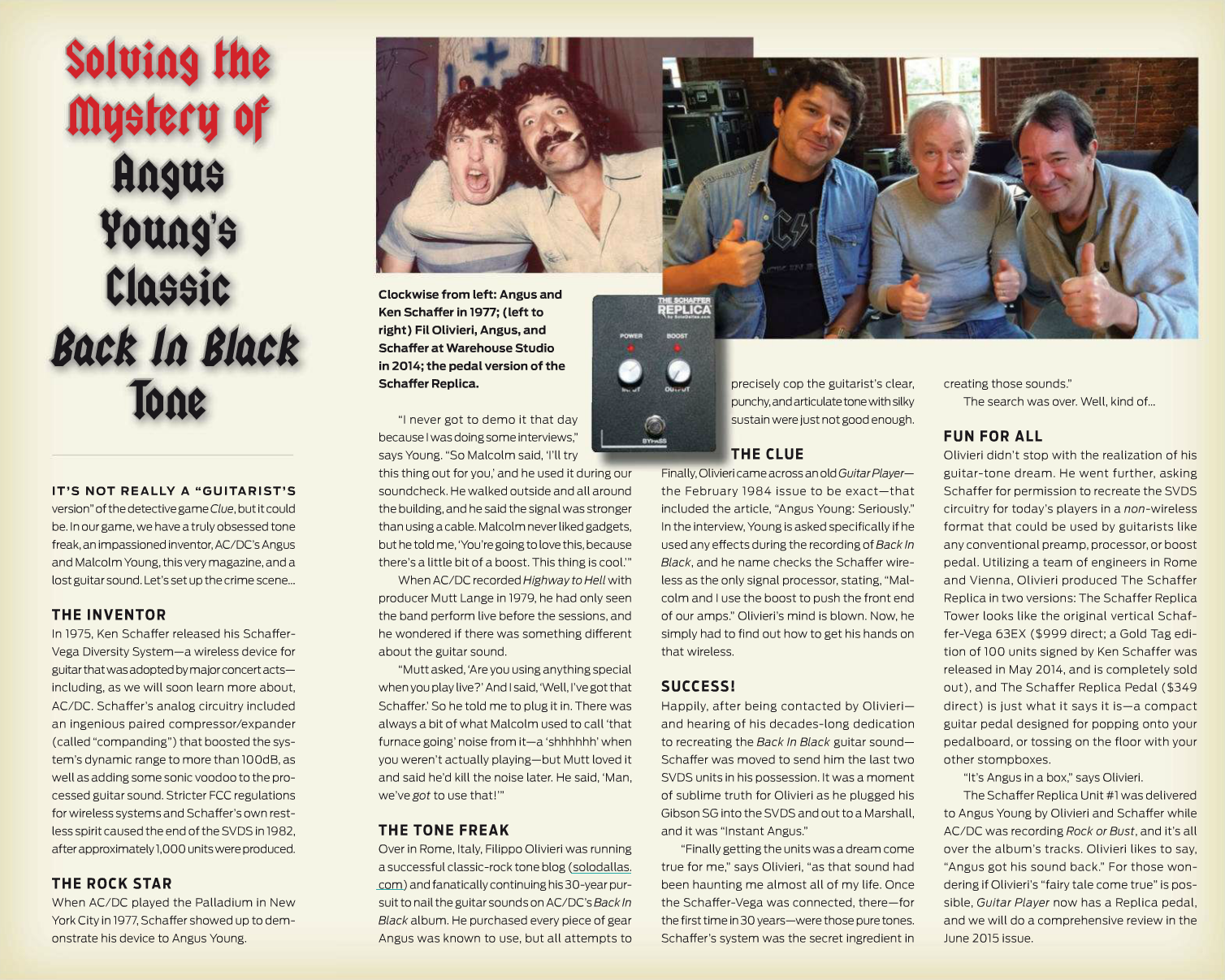 Angus Young's Classic Back In Black Tone, Guitar Player May 2015