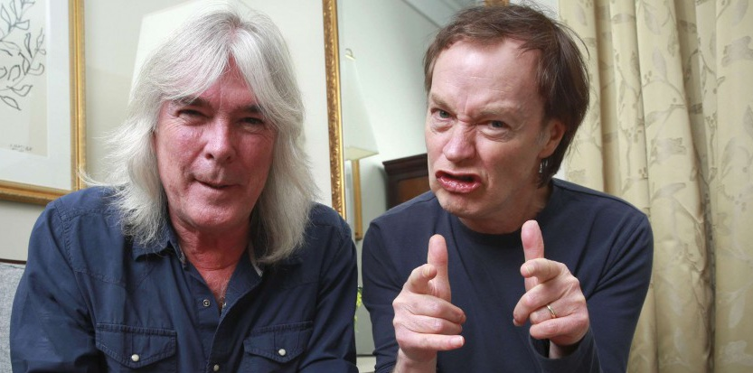 Le bassiste Cliff Williams et le guitariste Cliff Williams, du groupe ACDC, pendant la tournée de promotion pour Rock or bust. © Amy SussmanAPSIPA